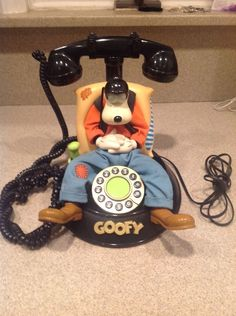 Disney Goofy Animated Telephone Push Button vintage telemania collect dorm gift