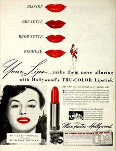 """sparklejamesysparkle: """" Vintage Max Factor Hollywood lipstick ads: Paulette…"""