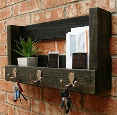 Attractive Entryway Wall Shelf For Keys, Coats, Mail, Etc.