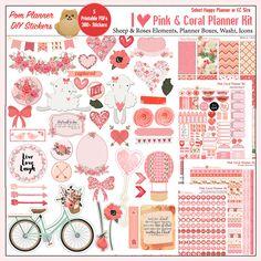 Printable Planner Stickers Kit in Pink & door DigiScrapDelights