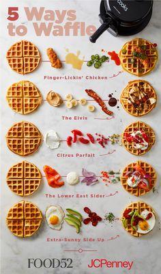 Sweet Potato Waffles, Sweet or Savory Recipe on Sweet Potato Waffles, Pancakes And Waffles, Cornbread Waffles, Savory Waffles, Protein Waffles, Waffle Bar, Waffle Toppings, Waffle Sandwich, Cafe Menu