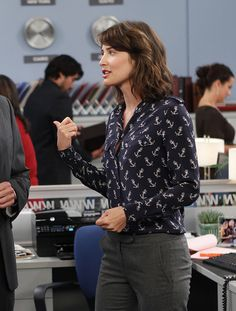 Robin's blue anchor print blouse on How I met your mother.  Outfit details: http://wornontv.net/490/