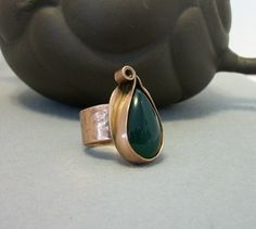 Unique handcrafted Copper ring with green by Beavjewels