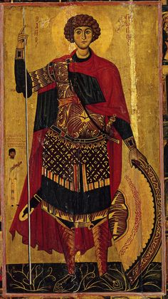 George the Great Martyr and Trophy-bearer, Holy Monastery of Saint Catherine, Sinai, Egypt, century George & Dragon, Saint George And The Dragon, Byzantine Art, Byzantine Icons, Religious Icons, Religious Art, Saint Catherine's Monastery, Sainte Catherine, Georgie