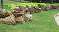 Natural Retaining Wall – Famous Last Words Landscaping With Boulders, Large Backyard Landscaping, Sloped Backyard, Backyard Plants, Landscaping Ideas, Backyard Ideas, Rock Wall Landscape, Landscape Design, Garden Design
