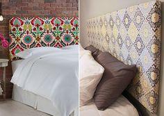 Cabeceiras podem ser feitas com isopor ou placas de MDF. Fotos: melanie hoover/Pinterest; kindleyourcreativity/Pinterst