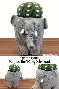 Finished amigurumi animal: Edgar the elephant.  #amigurumianimal #amigurumielephant Amigurumi Elephant, Crochet Elephant, Baby Elephant, Crochet Baby, Decoration Cactus, Pots, Crochet Projects, Crochet Ideas, Knitted Flowers