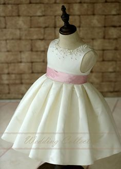 Ivory Satin Flower Girl Dress With Pearls by Weddingcollection Blush Flower Girl Dresses, Baby Girl Party Dresses, Little Girl Dresses, Baby Dress, Girls Dresses, African Dresses For Kids, Baby Girl Dress Patterns, Kids Frocks, Girl Outfits