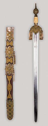 Espada atribuida al rey Boabdil  (Muhammad XII) de Granada. Granada, hacia 1400. Acero, oro, esmalte, madera, cuero, hilo y marfil  Hoja: 0,30 x 97 x 11 cm. Vaina: 1,9 x 77,5 x 6,5 cm. Peso de la vaina: 1311 gr. Peso de la espada: 1039 gr. Toledo, Museo del Ejército, n.º inv. 24.902 - Spanish, 15th Century. Sword and scabbard of Boabdil (Muhammad XII), Nasrid Granada, c. 1400. Steel, gold, enamel, metal wire, ivory, leather, wood. Museo del Ejército, Toledo.