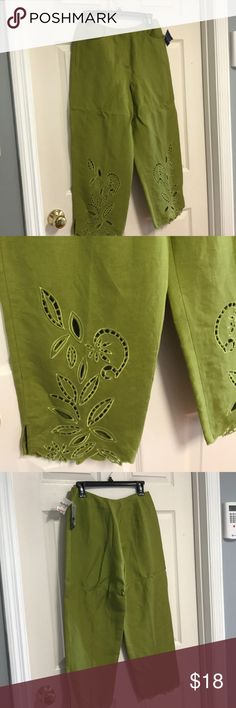 New pea green lined cropped pants New pea green lined cropped pants , scalloped at the bottom  & flower, leaf cut out Larry Levine Pants Ankle & Cropped