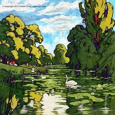 Pop Art Kew Gardens landscape painting  by Howie Green www.hgd.com