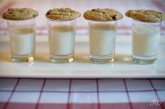 Milk and cookie shooters for the reception. so sweet
