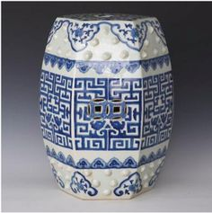 """Chinoiserie Chic's Top Ten Chinoiserie Pieces, #3: Blue and White Greek Key Garden Stool, 19""""H, $185."""