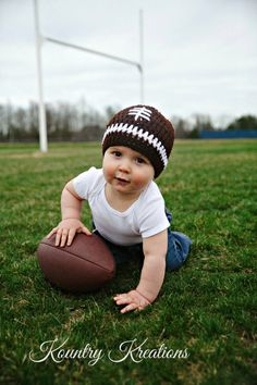 A personal favorite from my Etsy shop https://www.etsy.com/listing/78679544/crochet-baby-football-hat-newborn
