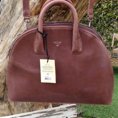 """Matt & Nat """"Nemesis"""" Bag (Vegan) Large, luxury bag from Matt & Nat that can almost be used as a briefcase! Note sizing: 20 inches width, 14 inches height without handles, and 4 inches width as measured from bottom. NWT. Brownish/burgundy color. Never used. Matt & Nat Bags Shoulder Bags"""
