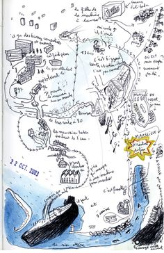 Mathias Poisson - Dessin de la série Cartes Subjectives Mental Map, Campus Map, Map Projects, Map Maker, Sketch Notes, Painting Collage, Information Design, Illustrations And Posters, Map Art