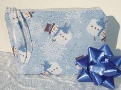 Snowman Zipper Pouch  Christmas or Hanukkah Gift Bag by KeriQuilts, $12.00