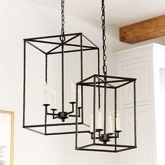 "Hadley 4-Light Pendant Chandelier 25"" x 16"" large $299,18.5"" x 11"" small $199, Chain: 6'L  www.ballarddesign.com"
