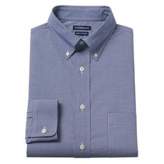Men's Croft & Barrow® True Comfort Fitted Oxford Stretch Dress Shirt, Size: 16.5 36/37, Blue