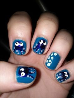 octopi and bubbles nail art