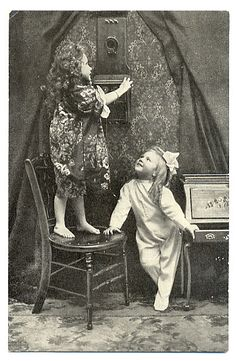 a little barefoot girl standing on a chair and talking on a vintage wall Telephone. Vintage Children Photos, Vintage Pictures, Old Pictures, Vintage Images, Old Photos, Photographs And Memories, Vintage Photographs, Photo Postcards, Vintage Postcards
