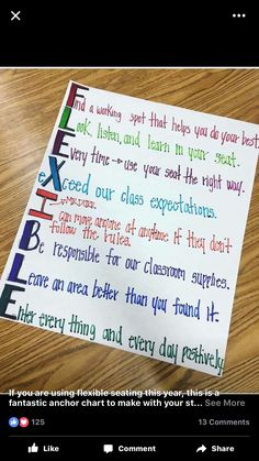 Flexible seating poster middle or high school