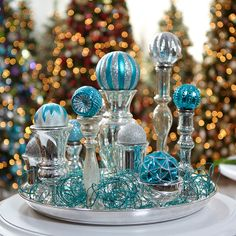 martha stewart living holiday centerpeice made from holiday frost ornaments available at the home depot