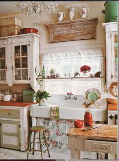 """I can imagine a kitchen with a vintage utililty sink, concrete counters, bamboo """"Puertas"""" cabinet doors and  our lime """"Comforts of Home"""" cupboard.  Instead of """"Kountry Kute"""" accents we would have Mexican vintage pottery and Folk Art. Painting Kitchen Cabinets, Best Kitchen Cabinets, Kitchen Cart, Shabby Chic Kitchen Cabinets, Kitchen Cabinets Before And After, Kitchen Island Furniture, Kitchen Sink Decor, Antique Kitchen Cabinets, French Kitchen Decor"""