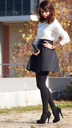 Women in tights. Women on bikes. - - - Women's style: Patterns of sustainability Skirt Outfits, Sexy Outfits, Dress Skirt, Cool Outfits, Fashion Outfits, Womens Fashion, Grunge Outfits, Black Opaque Tights, Black Pantyhose
