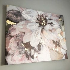 Beautiful blush and grey floral canvas with rose gold leaf accents. Pink and grey wall art. Blush and gold decor. Rose gold. Feminine bedroom.