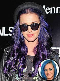 Katy Perry dark purple hair