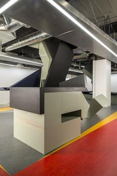 trendsideas.com: architecture, kitchen and bathroom design: Loft-style office space with geometric design, sculptural furniture, activity-based working