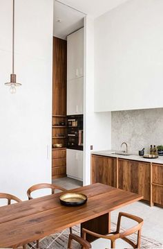 kitchen remodel for small space with natural wood and mid century modern