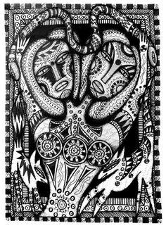 Sisters, outsider folk art by Julia Sisi