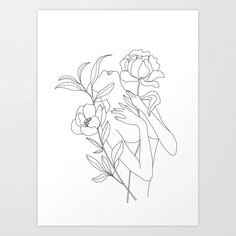 Minimal Line Art Woman with Peonies Art Print Diy Embroidery Flowers, Flower Pattern Design, Line Art Tattoos, Peony Print, Line Drawing, Peony Drawing, Art Plastique, Female Art, Art Inspo