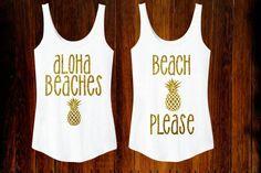 Aloha Beaches OR Beach Please Sparkly Glitter Gold Tank Top Summer Time Womens Shirt Hawaii Tropical Beach Glitter Pineapple