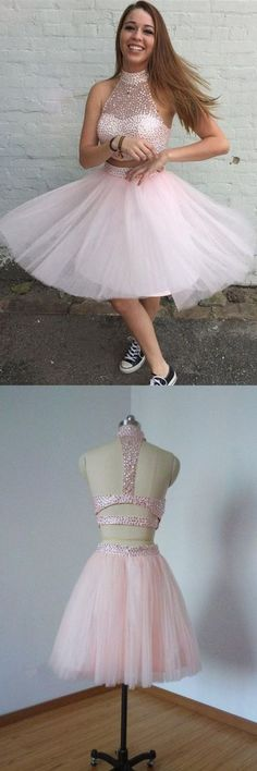 two piece homecoming dress,pink prom dress,sparkling prom dress,180