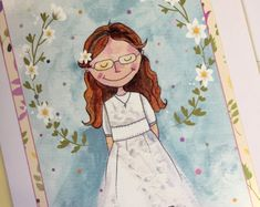 Girl with Glasses First Communion Card with Personalised Bookmark, Holy Communion Card for Little Girl, First Holy Communion Card First Communion Cards, First Holy Communion, Girls With Glasses, Princess Zelda, Disney Princess, Special Gifts, Holi, Little Girls, Disney Characters