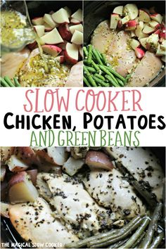 Cooker Chicken, Potatoes and Green beans is a healthy one-pot meal that is full of flavor. - The Magical Slow CookerSlow Cooker Chicken, Potatoes and Green beans is a healthy one-pot meal that is full of flavor. - The Magical Slow Cooker Healthy One Pot Meals, Healthy Slow Cooker, Healthy Crockpot Recipes, Easy Chicken Recipes, Slow Cooker Recipes, Cooking Recipes, Healthy Chicken, Cooking Ideas, Vegetarian Recipes