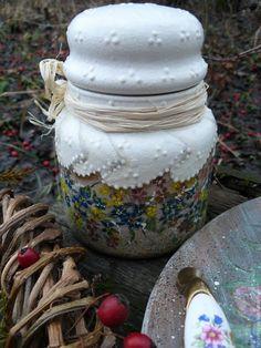 """Купить Поднос """"Клевер"""" и баночка для чая - комбинированный, поднос для кухни, поднос декупаж, поднос для завтрака"""