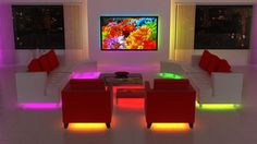 Structural fixing: strip lighting-  This semi dark room is lit with strip lights, so it appears that the furniture and walls are underlined or outlined in a neon glow.  It is useful as a light, and also very amazing.