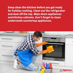 Here's a fresh-start #CleaningTip for you, before you begin preparing that holiday feast! House Cleaning Tips, Deep Cleaning, Cleaning Hacks, Dust Off, Get Ready, Fresh Start, Clean House, Cooking, Holiday