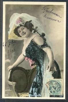 PG147-ARTIST-STAGE-STAR-LISE-FLEURON-Large-HAT-Tinted-PHOTO-pc-ORICELLY