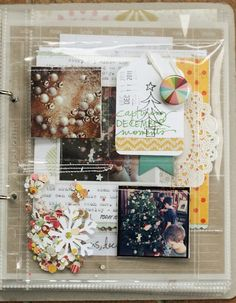 Lisa Truesdell's awesome December Daily for 2011....several posts (love how ou can see through the page protector and the pockets of confetti, the tag with badge and subtle stamping for background)