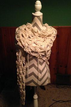Cream Crochet Flower of Life Shawl by CraftyCrochet4Today on Etsy