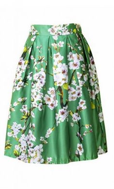 Camille women's modest vintage-style high waist A-line box pleated floral print midi skirt in Green.