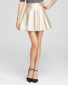 AQUA Skirt - Metallic Pleated Mini | Bloomingdale's