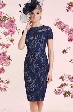 Veni Infantino 991216 Colour French Navy & Pacific Blue, Sale price £406. A short sleeved lace pencil dress with satin waistband and flowing chiffon coat. Veni Infantino will be sure to have a style you can make your own, from beautiful floaty dresses complemented with jackets.