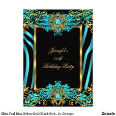 Elite Teal Blue Zebra Gold Black Birthday Party 5x7 Paper Invitation Card