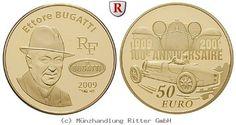 RITTER Frankreich, 50 Euro 2009, Bugatti, Gold, PP #coins #numismatics